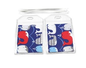 Luggage Tags Set of 2 Whales