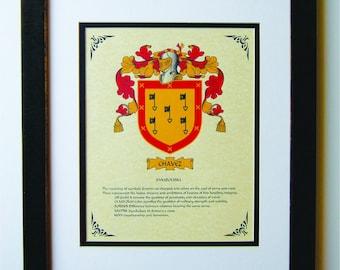 HERALDY COAT of ARMS ~ Chavez Family Crest ~ Framed