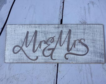 Decorative wooden writing for wedding Mr and Mrs wedding