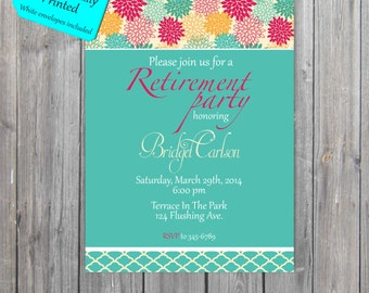 Retirement Invitation, Adult Party Invitation, retirement party Invitations PROFESSIONALLY PRINTED also available in digital format