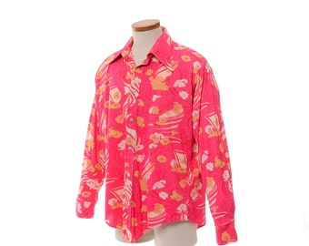 Vintage 70s Neon Pink Disco Shirt 1970s Hidden Womens Faces and Floral Boogie Fever Polyester Pimp Dance Party Shirt / mens L