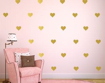 "Gold Heart Decal, Heart Decals Colors,  Heart Wall Decals, Gold Wall Decal, Gold Wall Decor, Available 2"" thru 12"" Hearts"