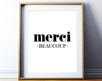 "Printable Art Poster ""Merci Beaucoup"" French Phrase Print Home Art Inspirational Quote Typography Wall Decor Digital Download DIY PRINT"
