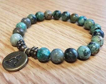 Adjustable Bracelet African Turquoise with Lotus Charm Mala SM0054