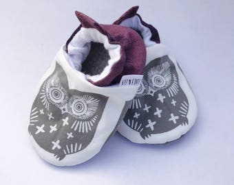 Owl Baby Shoes, Baby Girl Shoes, Baby Boy, Gender Neutral  Baby Shoe, Soft Sole Baby Shoes, Baby Slippers, Baby Booties,  Baby Moccasins