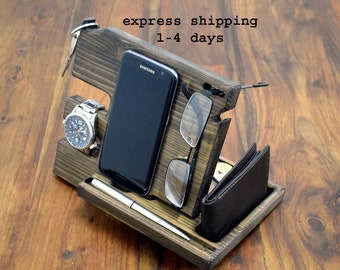 wooden iphone docking station, Night stand, Charging Station, Organizer for Men, Men Organizer, Desk Organization, Men Wood Organizer