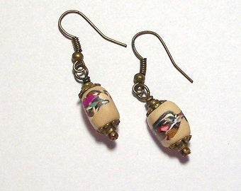 Desert Sand, Magenta, and Aqua Landscape Bead Polymer Clay Earrings by Carol Wilson of PollyClayDesigns