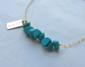 Turquoise Bracelet Personalized Gold Bracelet Gift for Mom Initial Bracelet Turquoise Jewelry December Birthstone Jewelry Gift for Her