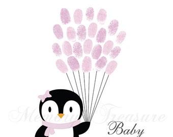 Baby Shower Guest Book Alternative Penguin Birthday Penguin Thumbprint Guestbook Penguin Fingerprint Guestbook Penguin Baby Shower Thumbprin