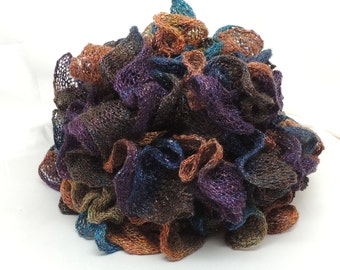 Dark Metallic Ruffled Knit Fashion Scarf