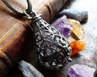 Dark Secret Stone Locket - Raw Amethyst, Citrine, or Kyanite Gemstone - Hematite Wish Box - Crystal Necklace Jewelry