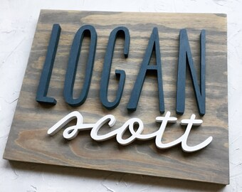 Modern Wood Name Sign - Wood Name Board - RECTANGLE - Custom Wall Art - Nursery Decor - Personalized