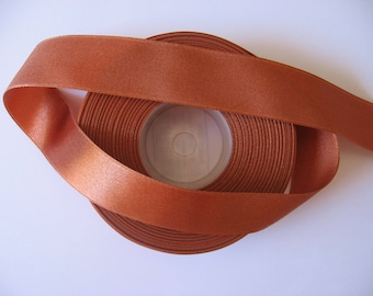 Simple satin ribbon side brown/rust