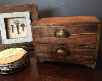 Vintage Card Catalog 2 Drawer Jewelry Box