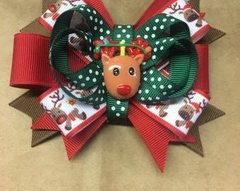 Reindeer holiday bow