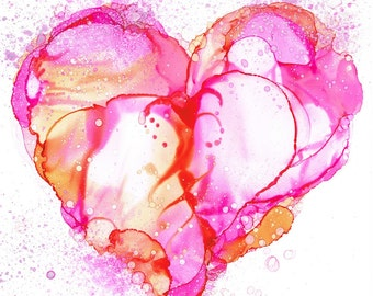 Love Bubbles Heart Alcohol Ink Painting Art Print