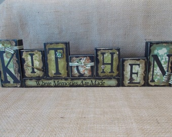 KITCHEN Wood Block Sign
