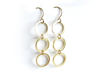 Cascading Circles Raw Brass Earrings