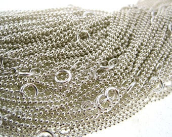 Quantity 1 -Lenth 14, 16, 18, 20, 22, 24, 30 Inch Sterling Silver 1.2 mm Ball / Bead Chain - Finished and READY TO WEAR with Spring Clasp