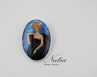 Modigliani's woman,Real cloisonne enamel jewelry,Brooch-pendant,Handmade jewelry for women,Gifts for women,Gifts for mom,Sterling silver