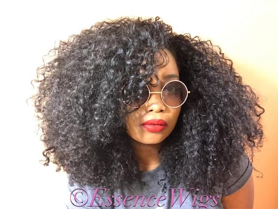 Essence Wigs 'Lotta Body' BANGS Natural BIG Hair Kinky Curly Wig Black Premium Sustainable Hair Unit Wig 3b 3a