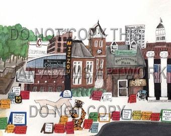 GRADUATION - MIZZOU in COLUMBIA- Watercolor Painting Graduation Gift Full of Memories Missouri Retirement HouseWarming