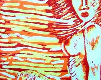 Sol - Linoleum Block Print