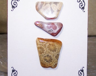 OOAK Bead Embroidery Focal Starter Kit Featuring Laguna Lace Agate and Fossilized Indonesian Coral by SeaStar1