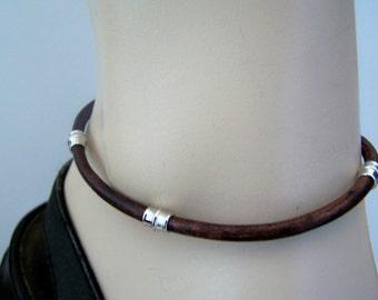 Natural Tan Anklet, Mens Leather Bracelet, Ankle Bracelet, 4mm Leather, Sizes 6-12 inchs