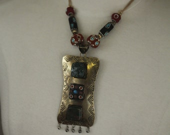 Indian tribal necklace - large with brass pendant and stones -- ethnic boho style  FREE SHIPPING SALE