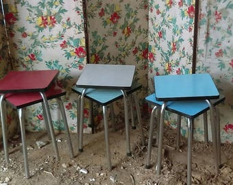 Vintage French retro mid-century square stacking formica top stools or tables