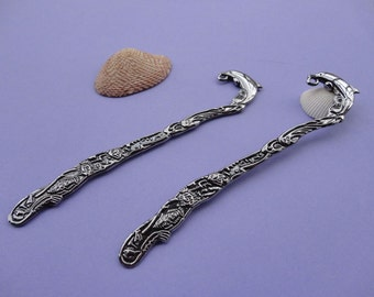 10pcs Antique Silver Tone Base Metal Dolphin Bookmarks--125x25mm--CP265