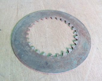 Large Industrial Metal Rusty Gears Recycled Metal Art Spike Teeth Clutch Gear Salvaged Metal