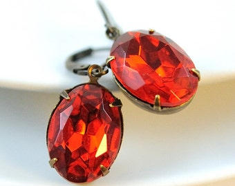 Red Earrings, Red Glass Jewel Earrings in Antiqued Brass, Christmas Jewelry Gift for Her, Oval Rhinestone, Vintage Inspired, Estate Style
