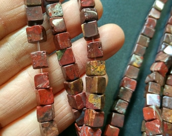 Natural Red Jasper Cube beads,Rustic Red Stone cube beads 6x6x6mm- approx 65pcs/Strand