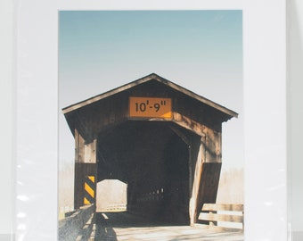 Matted Ready to Frame 8x10 Benetka Covered Bridge Photo Print - 11x14 Final Size - Covered Bridge Photo - Covered Bridge Art