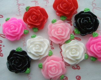 SALE Pretty small rose cabochons with leaves 10pcs