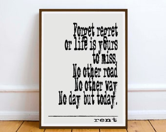 Rent quote  | wall art print poster - Romance quote gift - Digital Download musical lyrics