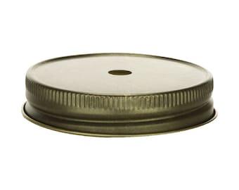 12 pcs Antique Gold Mason Jar Lid with Straw Hole for Regular Mouth Mason Jars