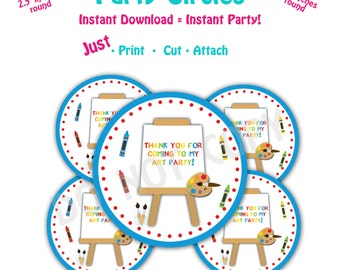 Art Birthday Party  Favor Tags -- Instant Download -   Printable Painting Party Favor Tags