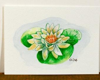 Water lily, ten most interesting flower series, Original watercolor, flower painting 5 x 7
