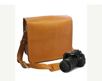 "10"" Sunrise Napa Mission Leather Camera Bag"