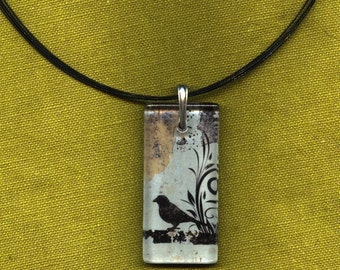 Little Black Bird Necklace - GeoForms Reversible Glass Art