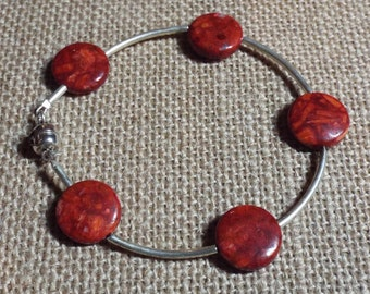 """Silver Bracelet Red Agate """"Count Your Blessings"""" #390 One Of A Kind"""