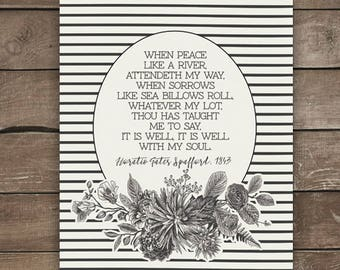It is well hymn print, botanicals, black and white