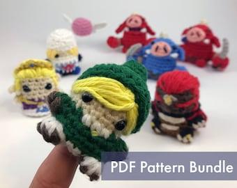 The Legend of Zelda Crocheted Amigurumi Finger Puppet PDF Pattern Bundle