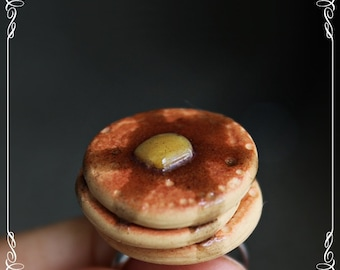Polymer Clay Pancake Ring, Miniature Food Jewelry