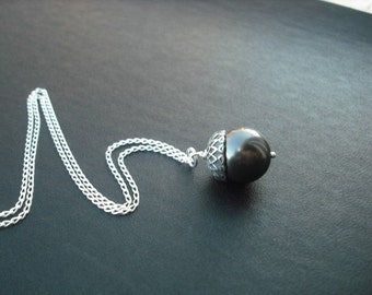 Silver Black Pearl Acorn Necklace, June Birthstone Necklace,  Pearl Necklace,  Bridesmaid Gift,  Wedding Gift,  Bridesmaid Necklace