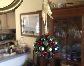 Beaded Christmas Ball Ornament