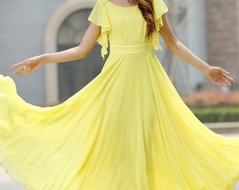 Yellow dress, wedding dress, maxi dress, formal dress, prom dress, party dress, summer dress, swing dress, fitted dress, gift for her (919)